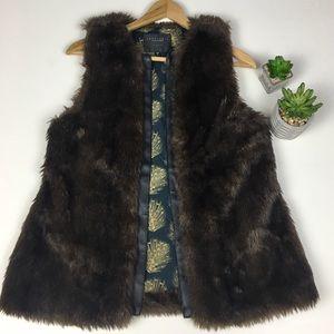 Sanctuary Open Vest Faux Fur Brown Black